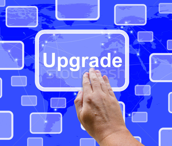 Upgrade Button Showing Software Updates To Fix Applications Stock photo © stuartmiles
