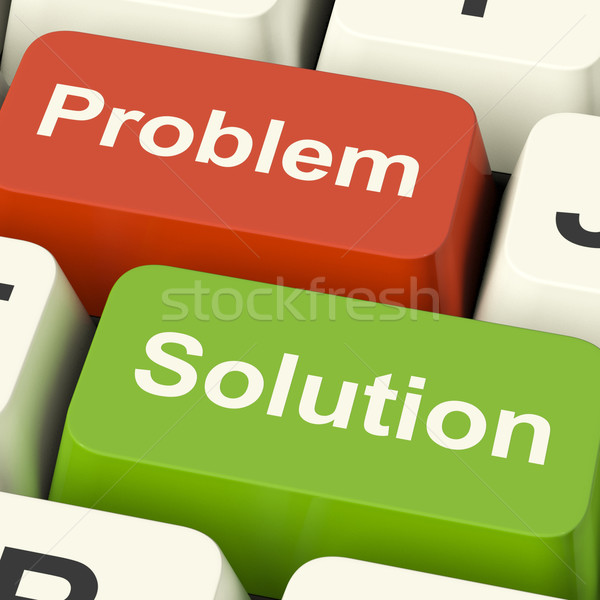 Problem And Solution Computer Keys Showing Assistance And Solvin Stock photo © stuartmiles