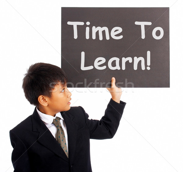 Time To Learn Sign Shows Learning Or Studying Now Stock photo © stuartmiles