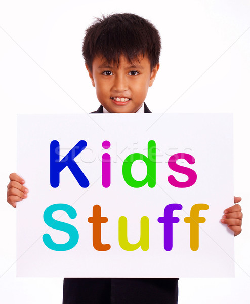Kids Stuff Sign Shows Childrens Play Things Stock photo © stuartmiles