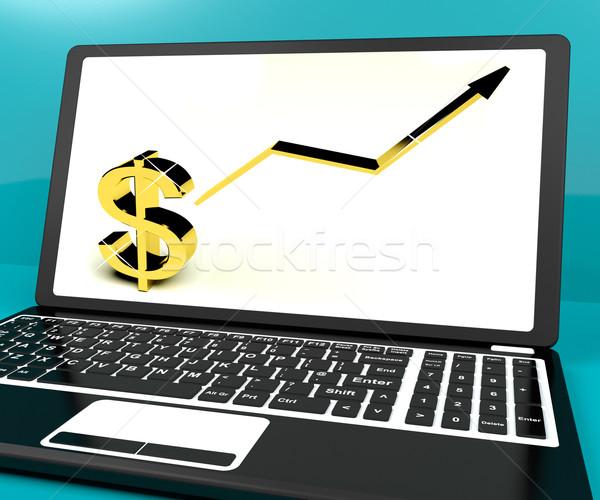 Dollárjel felfelé nyíl számítógép kereset nyereség Stock fotó © stuartmiles