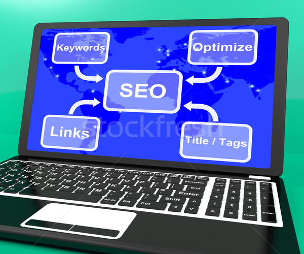 Seo diagram laptop tonen links Stockfoto © stuartmiles