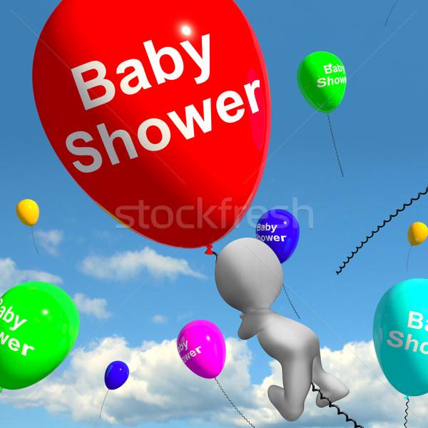 Baba zuhany léggömbök égbolt újszülött születés Stock fotó © stuartmiles