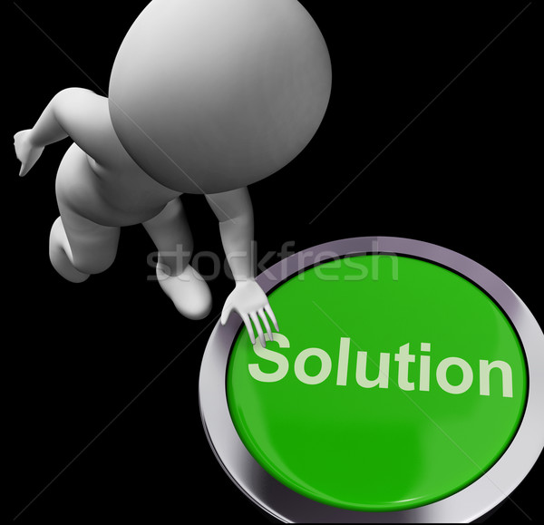 Solution Computer Button Shows Success And Strategies Stock photo © stuartmiles