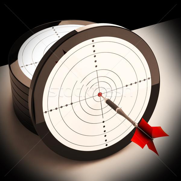 Dart Target Shows Focused Successful Aim Stock photo © stuartmiles