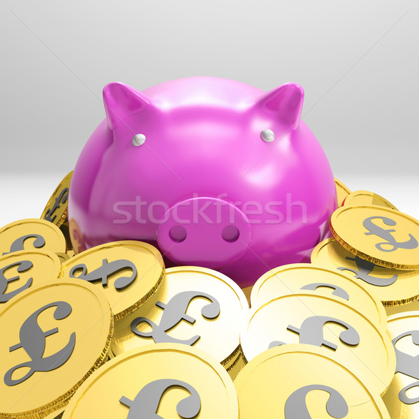 Piggybank Surrounded In Coins Showing Britain Wealth Stock photo © stuartmiles