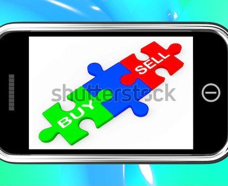 Last Piece On Smartphone Shows Solving Stock photo © stuartmiles