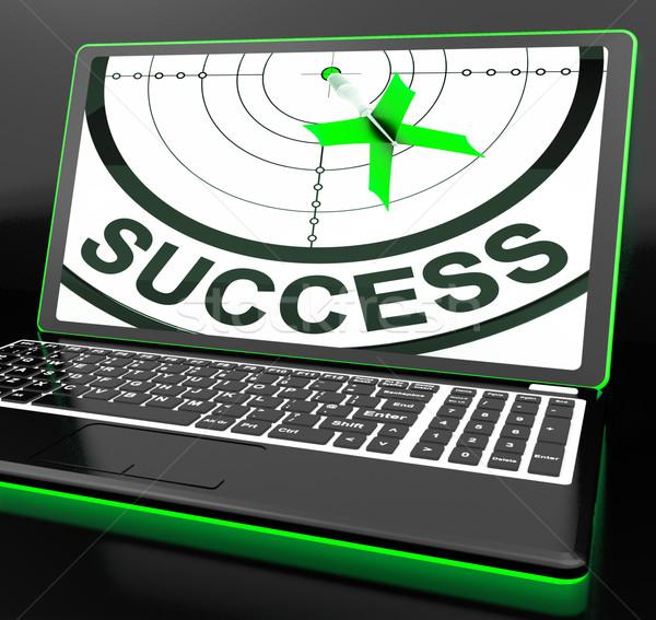 Success On Laptop Showing Successful Progress Stock photo © stuartmiles