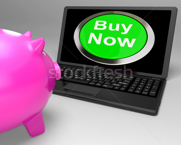 Stock photo: Buy Now Button On Laptop Showing Commerce