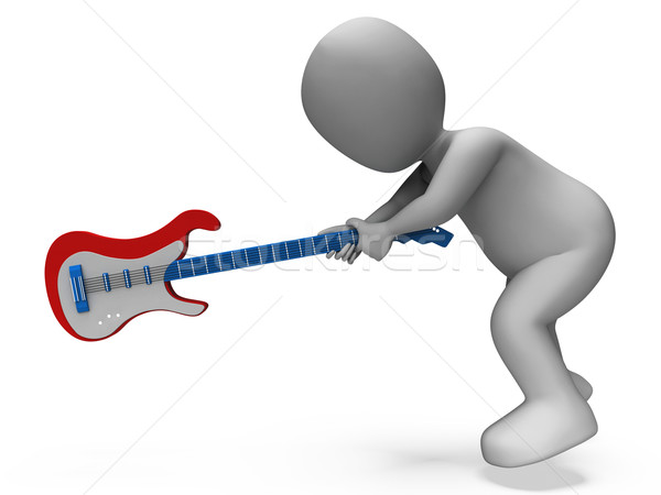 Mérges agresszív gitáros gitár rocker kő Stock fotó © stuartmiles