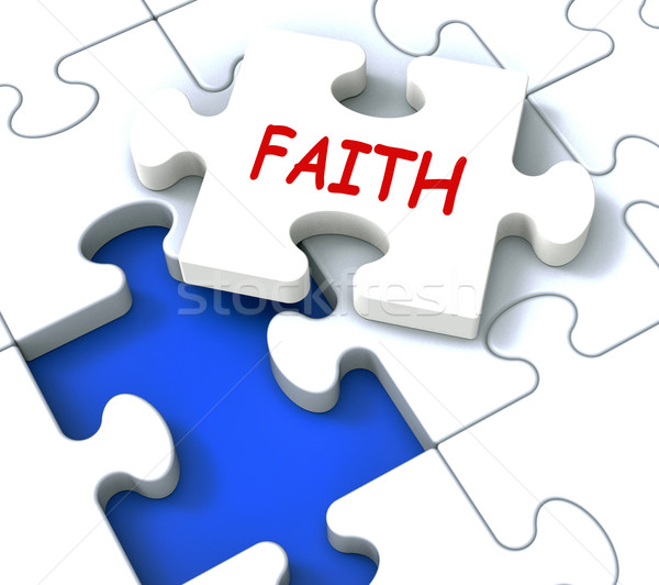 Faith Jigsaw Showing Religious Spiritual Belief Or Trust Stock photo © stuartmiles