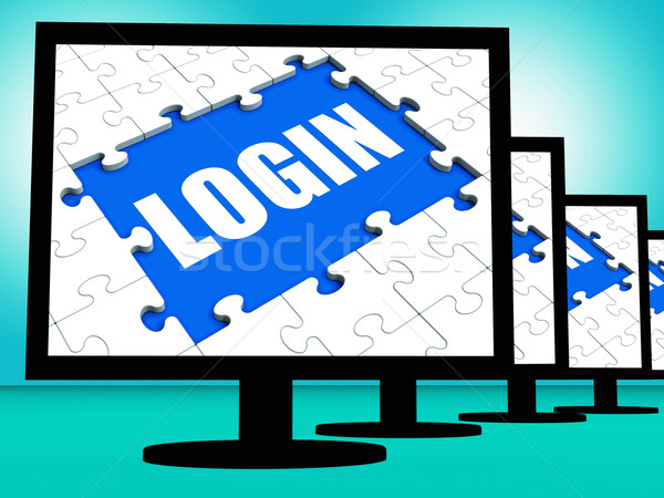 Inloggen web internet veiligheid tonen teken Stockfoto © stuartmiles