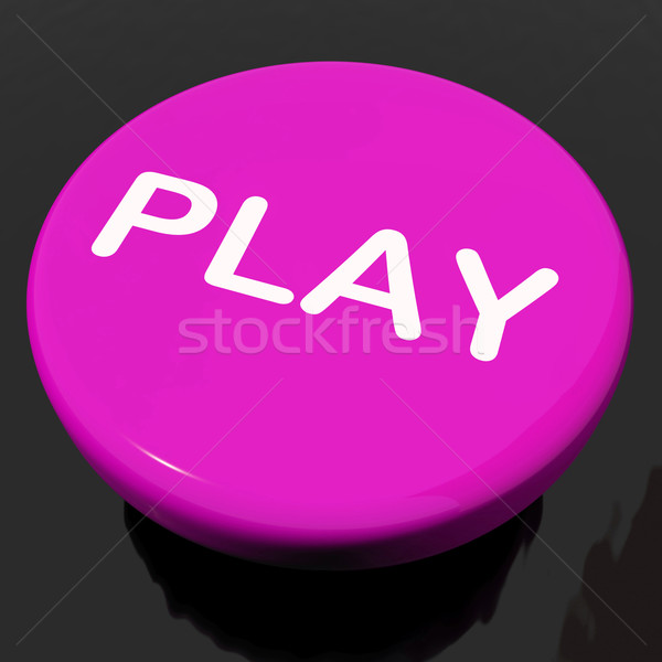 Play Button Shows Playing Online Gaming Or Gambling Stock photo © stuartmiles