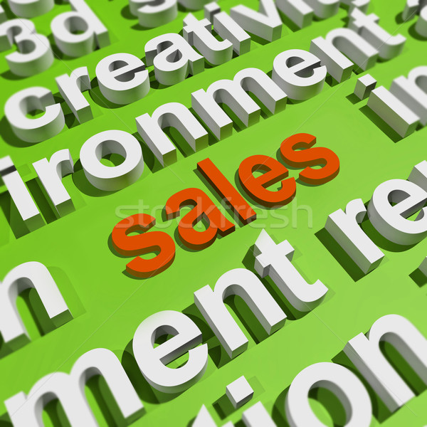 Sales In Word Cloud Shows Promotions And Deals Stock photo © stuartmiles