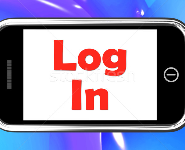 S'identifier téléphone signe ligne web Photo stock © stuartmiles