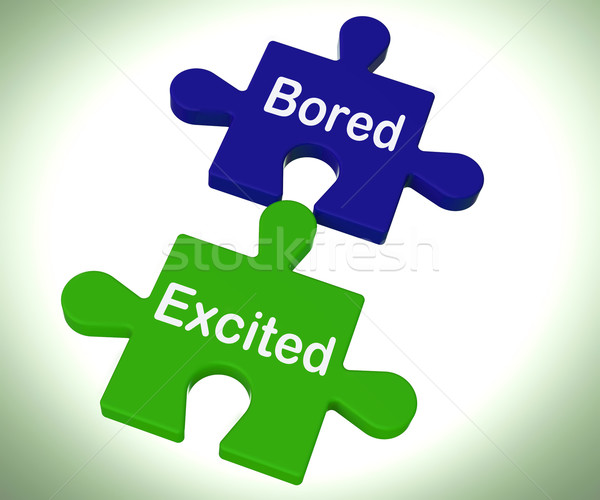 Bored Excited Puzzle Means Exciting And Fun Or  Boring Stock photo © stuartmiles
