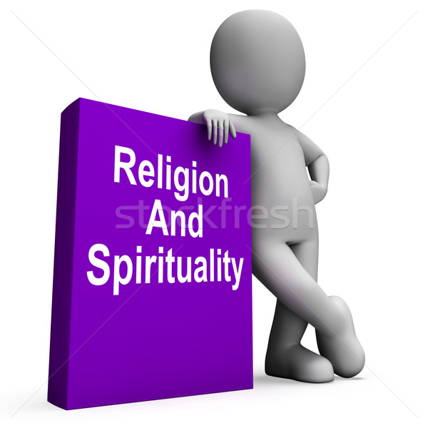 Religion And Spirituality Book With Character Shows Religious Sp Stock photo © stuartmiles