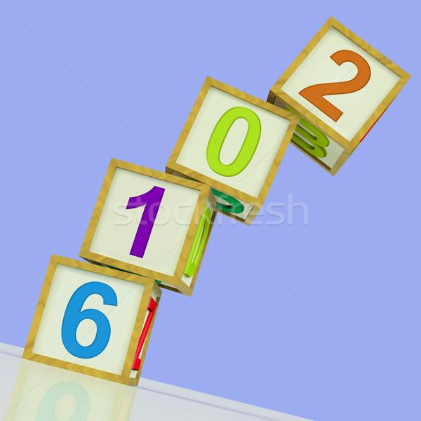 Twee duizend zestien blokken show jaar Stockfoto © stuartmiles