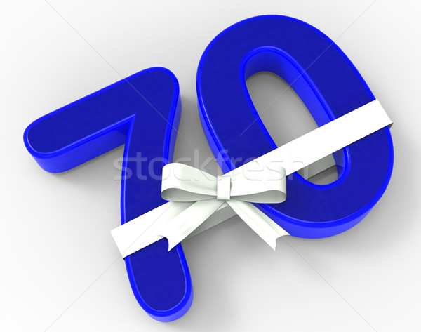 Number Seventy With Ribbon Shows Elderly Birthday Or Surprise Ce Stock photo © stuartmiles