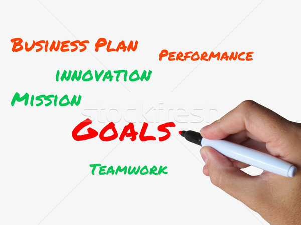 Stock photo: Goals on Whiteboard Show Targets Aims and Objectives