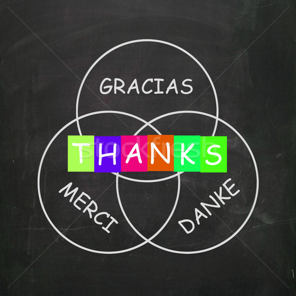Gracias Merci and Danke Mean Thanks in Foreign Languages Stock photo © stuartmiles