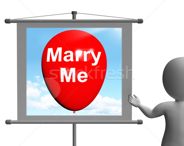 Marry Me Sign Represents Lovers Proposed Engagement Stock photo © stuartmiles