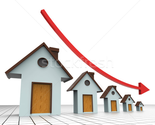House Prices Decreasing Shows Real Estate Agent And Buildings Stock photo © stuartmiles