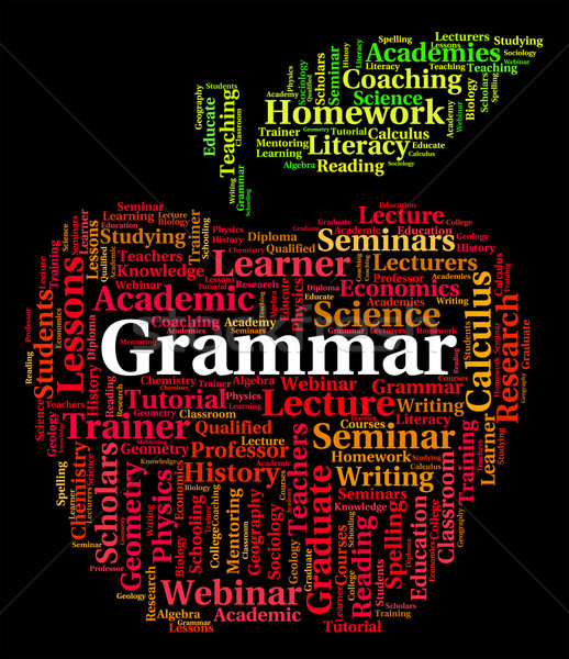 Stock photo: Grammar Word Shows Rules Of Language And Communication