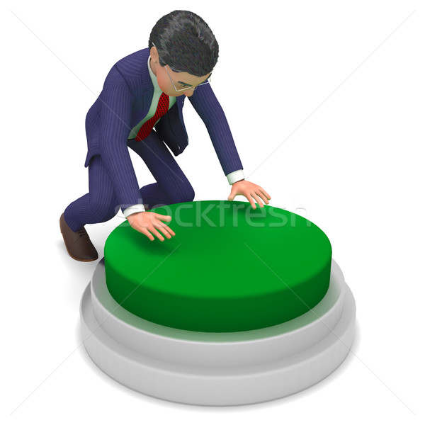Pushed Start Button Shows Business Man And Beginning Stock photo © stuartmiles