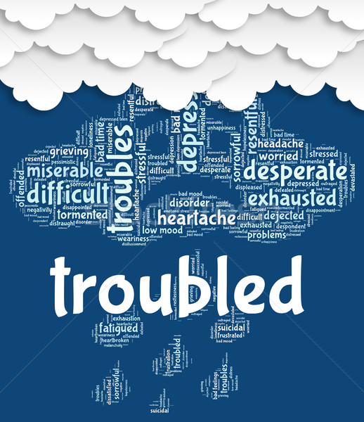 Troubled Word Shows Difficult Problematic And Hard Stock photo © stuartmiles
