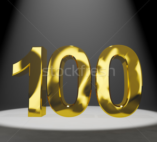 Gold 100th Or One Hundred 3d Number Closeup Representing Anniver Stock photo © stuartmiles