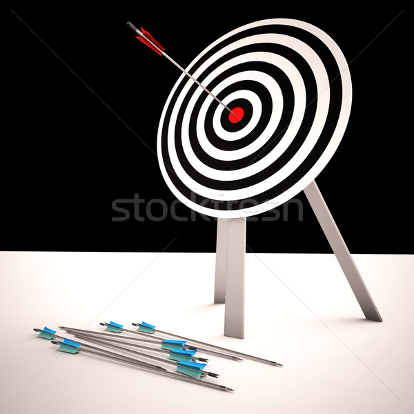 Arrow On Dartboard Shows Centered Shot Stock photo © stuartmiles