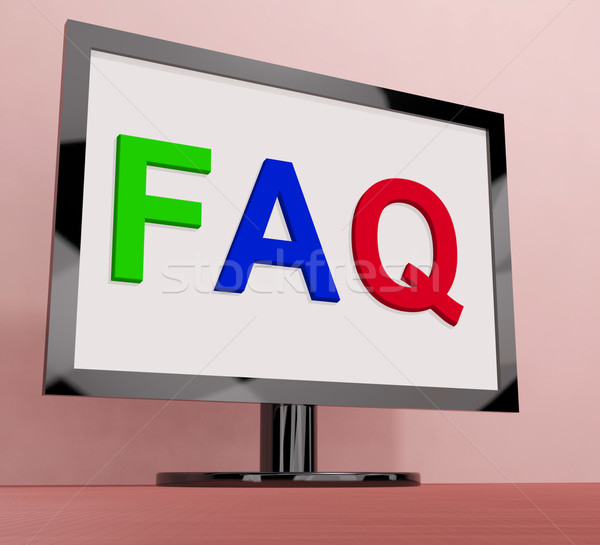Faq On Monitor Shows Frequently Asked Questions Online Stock photo © stuartmiles