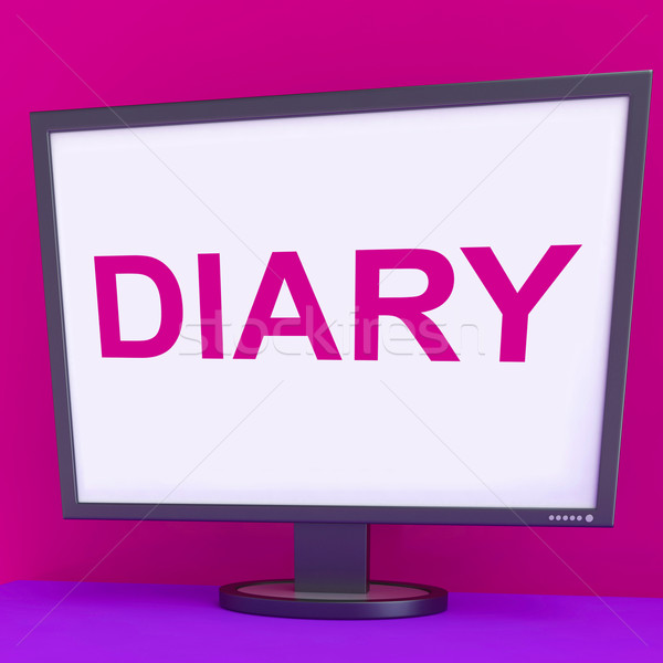 Diary Screen Shows Online Planner Planning Or Scheduler Stock photo © stuartmiles