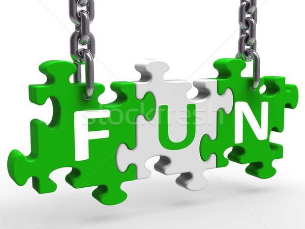 Jókedv puzzle élvezi izgalmas szórakoztat örömteli Stock fotó © stuartmiles