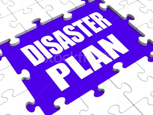 Disaster Plan Puzzle Shows Danger Emergency Crisis Protection Stock photo © stuartmiles