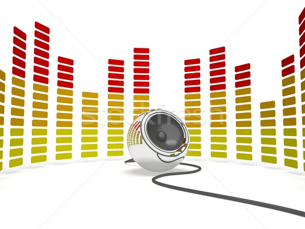 Graphic Equalizer And Speaker Shows Music Or Musical Audio Stock photo © stuartmiles