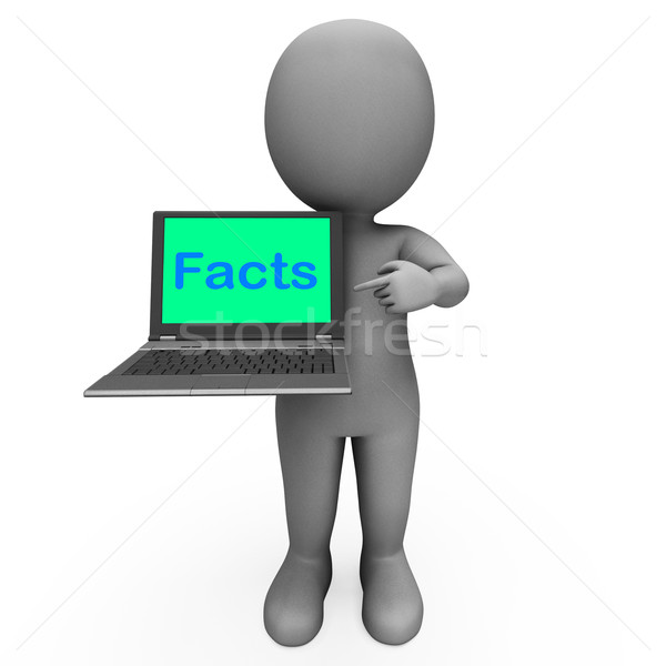 Facts Character Laptop Shows Honesty Data And Knowledge Stock photo © stuartmiles