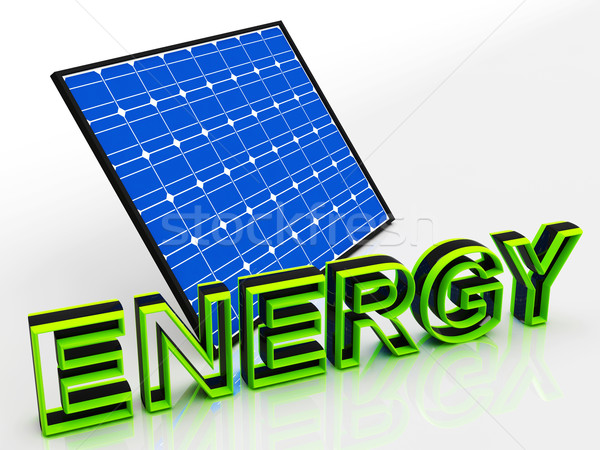 Solar Panel And Energy Word Shows Alternative Energies Stock photo © stuartmiles