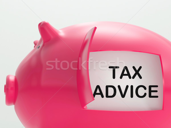 Tax Advice Piggy Bank Shows Advising About Taxes Stock photo © stuartmiles