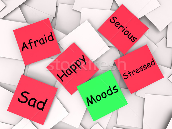 Moods Post-It Note Means Happy Sad Stressed Afraid Stock photo © stuartmiles