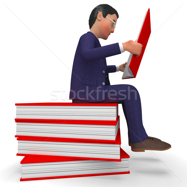 Businessman Reading Books Means Learned Education And School Stock photo © stuartmiles