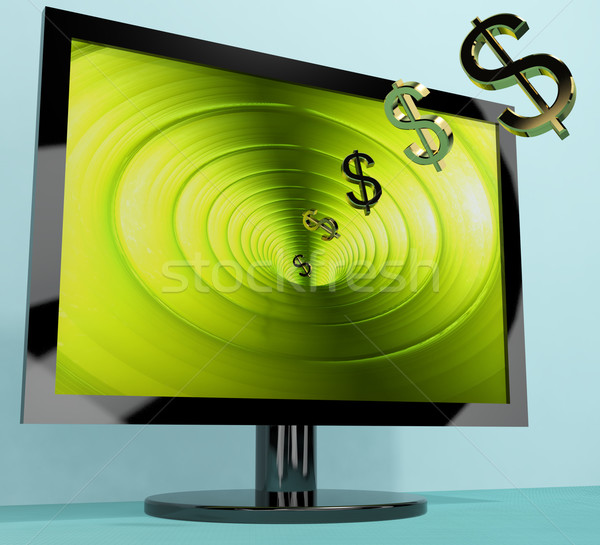 Dollar Symbols Coming From Screen Showing Money Wealth Earnings  Stock photo © stuartmiles