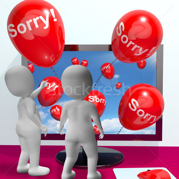 Sorry Balloons From Computer Showing Online Apology Or Remorse Stock photo © stuartmiles