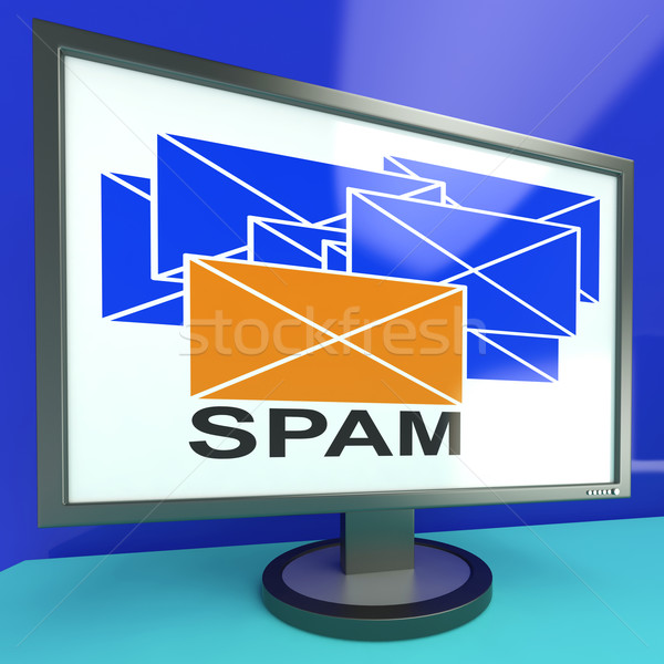 Spam Envelope On Monitor Showing Malicious Messages Stock photo © stuartmiles