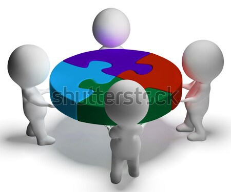 Puzzle Solved And 3d Characters Showing Union And Cooperation Stock photo © stuartmiles