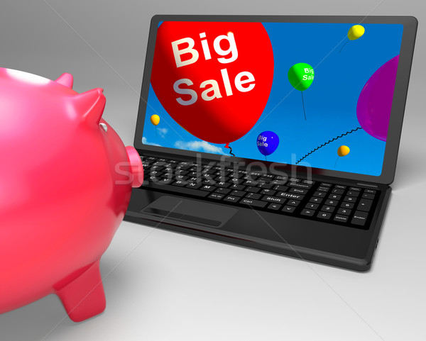 Stock photo: Big Sale On Laptop Shows Closeouts