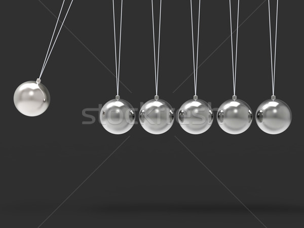 Six Silver Newtons Cradle Shows Blank Spheres Copyspace For 6 Le Stock photo © stuartmiles