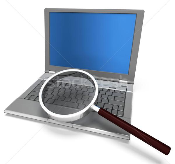 Lupą laptop wyszukiwania badań Zdjęcia stock © stuartmiles