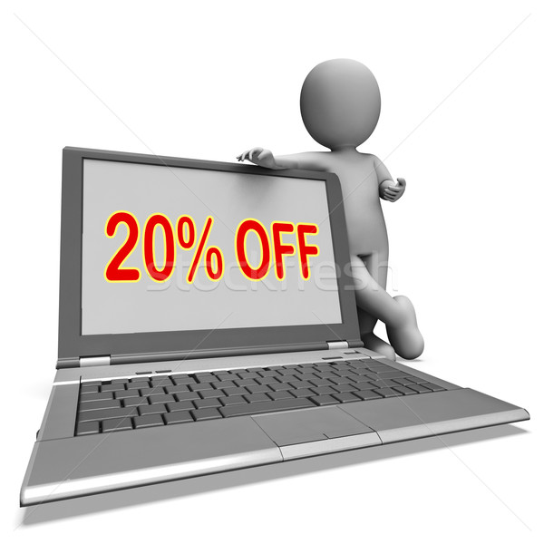 Twenty Percent Off Monitor Means Deduction Or Sale Online Stock photo © stuartmiles